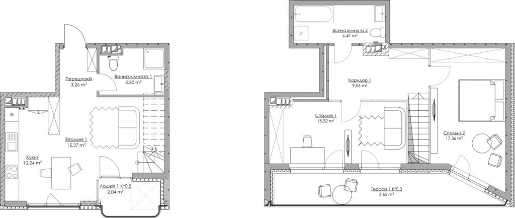 Plan of the apartment KV-68-3M-2-3-10